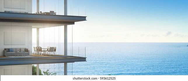 Sea view meeting and living room in modern office, Building with luxury interior - 3d rendering