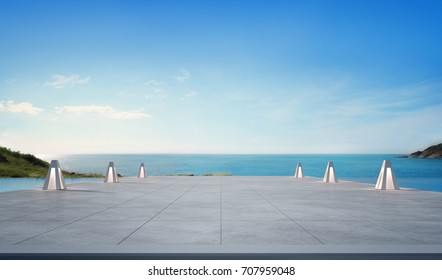 Sea view swimming pool and empty terrace in modern luxury beach house with blue sky background, Blank concrete floor at vacation home or hotel for product display, 3d illustration of tourist resort