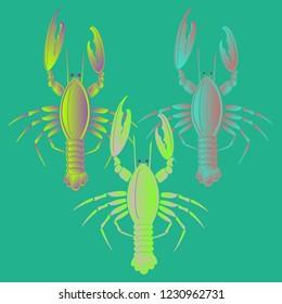 Sea water amazing lobster multicolored geometric.