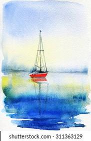 sea . watercolors painting