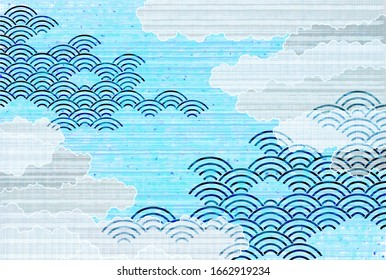Sea wave wave japanese pattern cloud background
