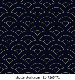 Sea wave seamless ornament. Simple geometric peacock pattern. Half circles print block for interior textile, scrap paper, fabric cloth, gift wrapping. Indigo all over design. Look the same 1353189740.