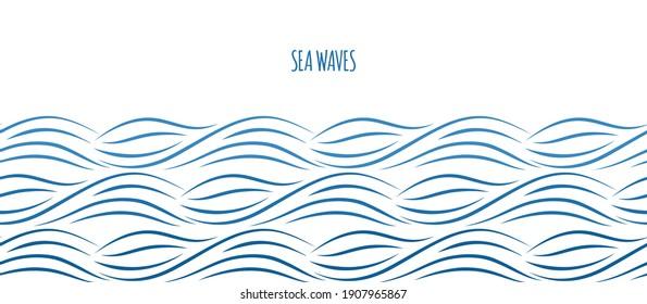 Sea waves border. Ocean water background. Nautical seamless pattern