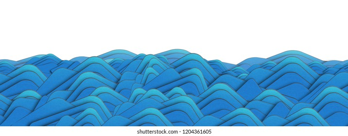 Sea waves sketch pattern. Marine pattern with stylized blue waves on a light background. Water Wave abstract design. Ocean paper wave 3d illustration