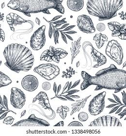 Seafood restaurant seamless pattern.  Fish, seashell, leaf, shrimp. Engraved vintage sea set.  illustration