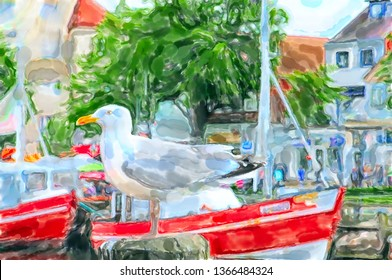 seagull sitting on pier. Illustration of Warnemunde harbor at Baltic sea in Germany.