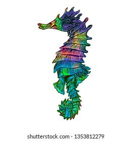 Seahorse isolated illustration, hand painted colorful abstract watercolor turquoise, green, red splashes