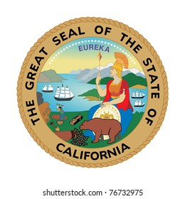 Seal of American state of California; isolated on white background.