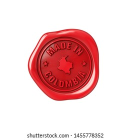 Seal made in Colombia. Red sealing wax. Origin stamp. 3D Illustration