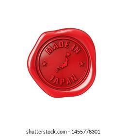 Seal made in Japan. Red sealing wax. Origin stamp. 3D Illustration