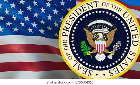 Seal of The President of The United States with the USA flag background. US seal for Presidents day, 3d rendering. Presidential seal design isolated on a USA. US Coat Arms-Washington, 2 May 2019