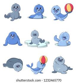 Seal pups cute character icons set. Cartoon illustration of 9 seal pups cute character icons for web
