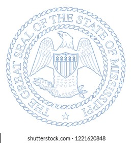 The seal of the United Steas of American state MISSISSIPPI isolated on a white background.