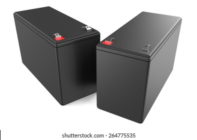Sealed UPS batteries isolated on white background