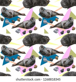 Seals relaxing. Ringed seal and southern fur seal colorful avant garde background. Seals, stones and geometrical shapes stylized seamless pattern