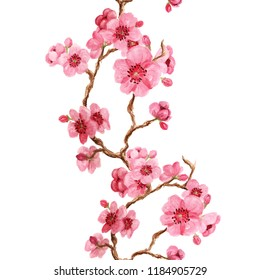 Seamles pattern with japanese sakura with pink flowers on white background
