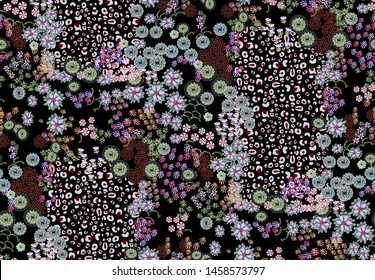 seamles, tiny flowers and leopard skin drawing mixed patchwork pattern. Garden fabric print.