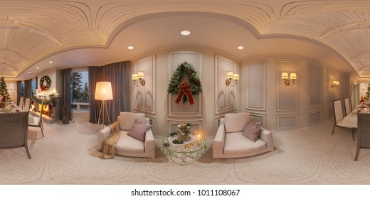 Seamless 360 panorama for virtual reality and virtual 3D tours. Christmas interior with a fireplace. 3d illustration of an interior design in a classic style