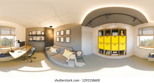 Seamless 360 vr home office panorama. 3d illustration of modern apartment interior design. Home interior cabinet in the Scandinavian architectural style