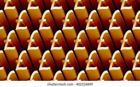 seamless 3d pattern of golden pound sterling signs (3d illustration)