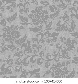 Seamless 3d wallpaper design with florals for wallcoverings and photomurals