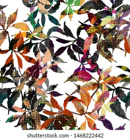 seamless absract colorful leaf print design