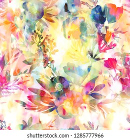 seamless, abstarct, colrfull flowers and watercolor hand drawing pattern