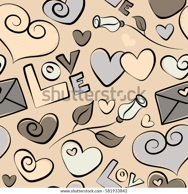 Seamless abstract background. Love lettering seamless pattern, hand drawn calligraphy wallpaper on a beige backdrop.