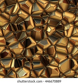 Seamless abstract background of metal. Crystal texture. Gold metal texture. Abstract polygonal background. 3D illustration.
