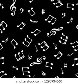 Seamless abstract background with music symbols. Vector illustration.