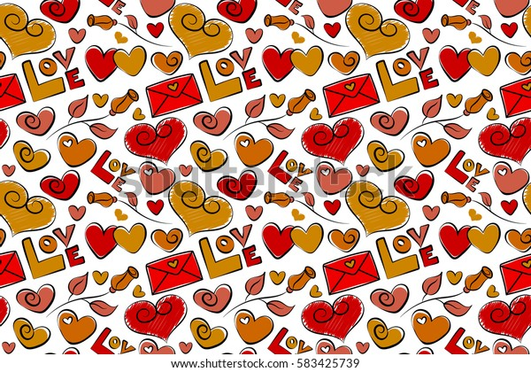 Seamless abstract background on a white. Valentines day art. Background raster seamless pattern with falling hearts, flowers and love letter in yellow, orange and red colors.