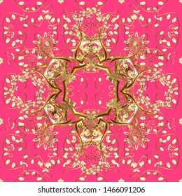 Seamless abstract background with repeating elements. Pink and brown and golden pattern. Elegant classic pattern.