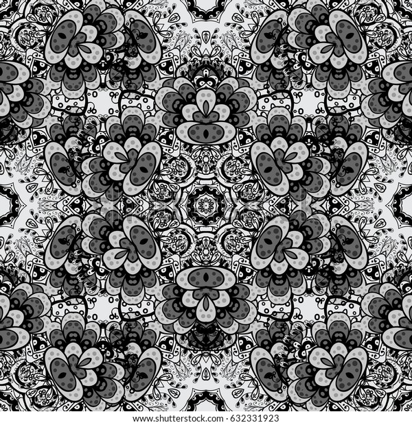 Seamless abstract background with repeating elements. Gray and dim pattern. Elegant classic pattern.