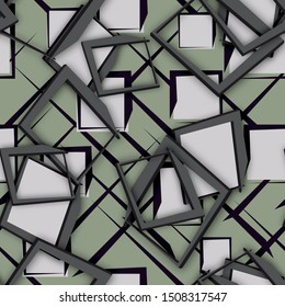 Seamless abstract background with three-dimensional figures. 3D illustration