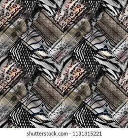 Seamless abstract ethnic pattern with watercolor effect.
