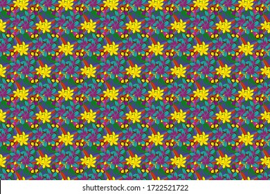 Seamless abstract floral pattern in blue, yellow and purple colors. Graphic modern pattern. Cute raster background. Seamless pattern with plumeria flowers. Geometric leaf ornament.