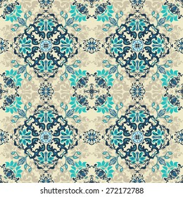 Seamless abstract floral pattern design for fabric