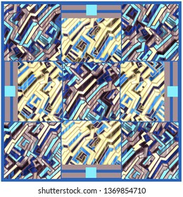 Seamless abstract geometric digital pattern for stylish scarf design. Trendy style