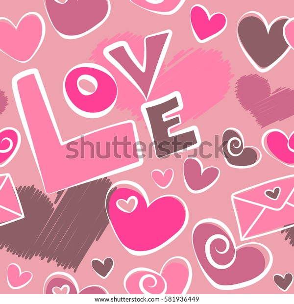 Seamless abstract image in pink colors. Seamless pattern hand painted hearts, letter and love text.