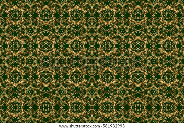 Seamless abstract modern pattern on a green backdrop. Green and golden seamless pattern. Geometric repeating raster ornament with golden elements.