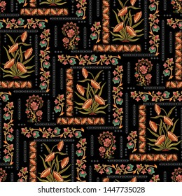 seamless  abstract mughal floral Motif pattern  black background