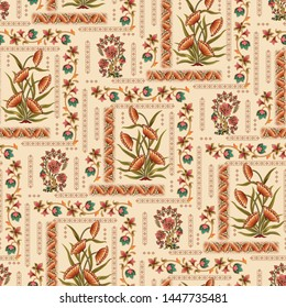 seamless  abstract mughal floral Motif pattern  cream background