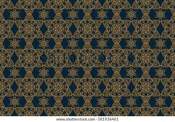 Seamless abstract ornament on blue background with repeating elements. Blue and golden pattern. Elegant raster classic seamless pattern.