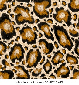 Seamless Abstract paint brush textured leopard animal skin background. Repeatable ready template. It was drawn by hand with paint brush strokes.