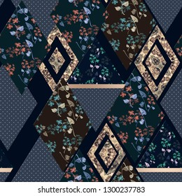 Seamless abstract patchwork plaid patches pattern dark backrgound