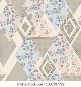 Seamless abstract patchwork plaid patches pattern beige backrgound