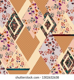 Seamless abstract patchwork plaid patches pattern
