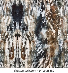 Seamless abstract pattern in black and brown natural colors. Watercolor stains with prints corrugated cardboard, imitating the bark, the animal suit. Suitable for covering design