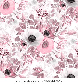 Seamless abstract pattern. Bouquet of anemones in gray, white and pink.