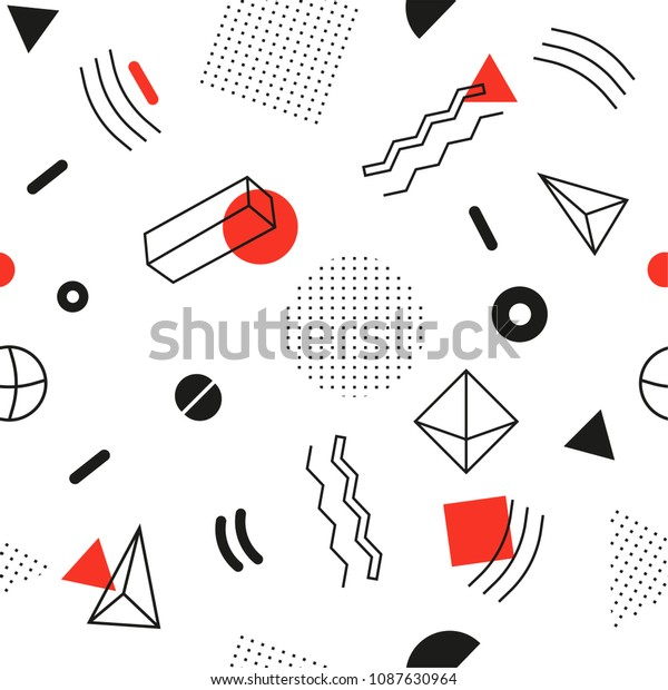 Seamless abstract pattern - modern material design background in retro style. Black, white, red colors. Template for wrapping paper, fabric, cover of books, textile, business cards